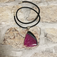 1.75'' Pendant Purple & Black Quartzy AGATE with Black LEATHER Necklace 17.5''