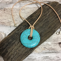 Genuine TURQUOISE Pendant, Centre Hole Creamy Natural 100% Leather Necklace 19''