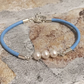 Pearl & Leather Bracelet in Baby Blue with 3mm Soft Leather Adjusts 7-8 Inch