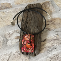 Leather Necklace Red Sea Jasper & Copper Bornite Pendant 18''  Matte Black 3mm
