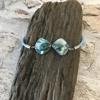 Bracelet with Abalone Shell & Stainless Steel on Sky Blue 3mm Leather 7.5inches