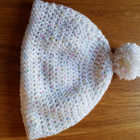 Crocheted Beanie Hat White