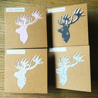 Pack of 4 traditional Christmas cards - Assorted colours