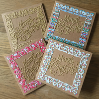 Pack of 4 Christmas cards- Assorted colours