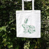 Patterned Rabbit Tote- Green Screen-printed shopping bag