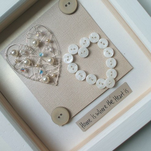 Pearls & Buttons Duo HeartBox Art (Free UK P&P)