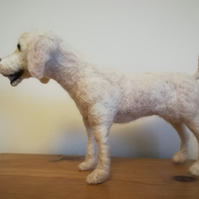 Golden labrador retriever dog sculpture, needle felted wool, handmade artist col