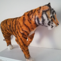 Tigger, tiger needle felted wool sculpture, OOAK collectable sculpture