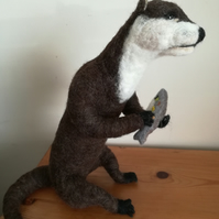 TARKA Otter needle felted wool sculpture, collectable OOAK artist softsculpture