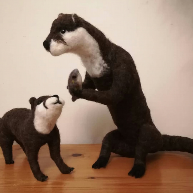 TARKA AND EDAL, Otter OOAK collectable needle felted wool sculptures