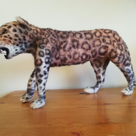 Leopard cat bigcat needle felted wool sculpture, collectable OOAK artist softscu