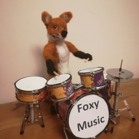 Foxy Music, Drummer music, musician needle felted wool sculpture, OOAK fox