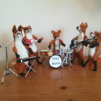 Foxy Music Band music musicians needle felted wool sculptures, collectables