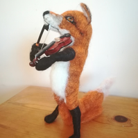 Foxy Music, violinist fox, OOAK, collectables wool needle felted