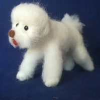 Bichon Frize , dog, needle felted, collectable,wool armature OOAK