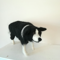 Bill, the Border Collie dog needle felted wool sculpture, OOAK collectable dogs