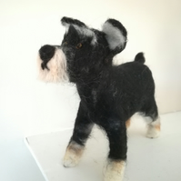 Shnauzer terrier dog needle felted wool sculpture collectable collectables, OOA,