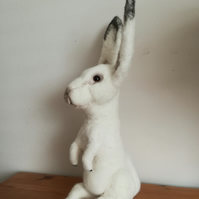 Artic Hare rabbit bunny animal needle felted wool sculpture, OOAK collectable