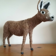 Barney donkey needle felted wool sculpture collectable collectables OOAK soft sc