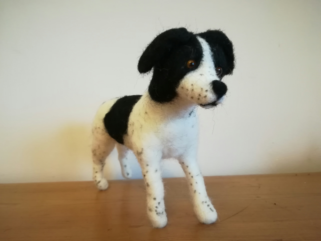 Springer Spaniel dog sculpture needle felted wool, OOAK, collectable
