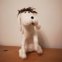 DOG, needle felted humorous character OOAK collectable