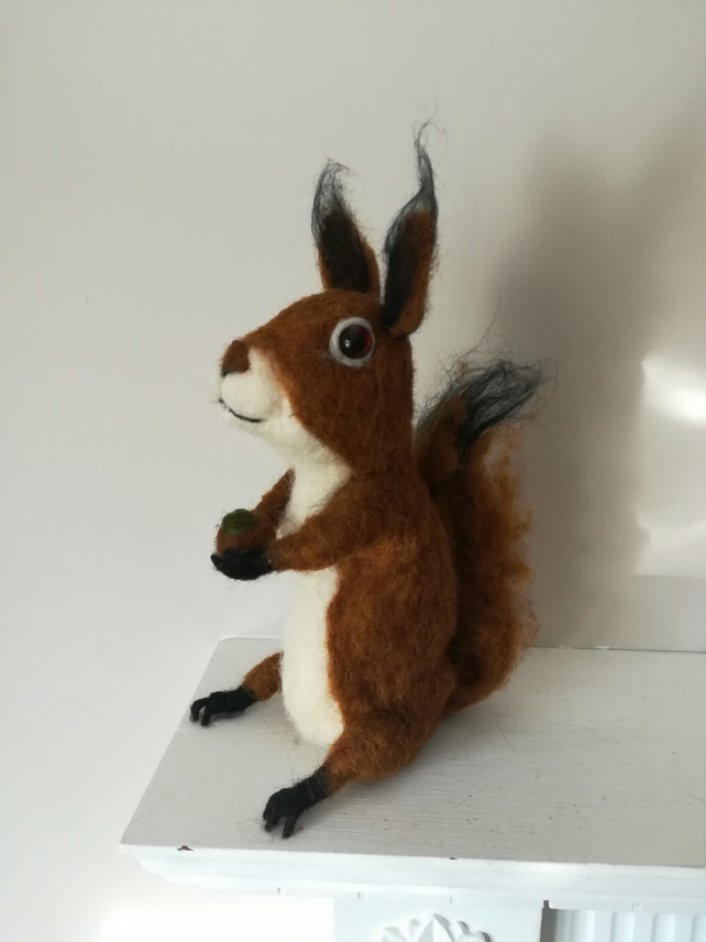 SQUIRREL needle felted wool sculpture collectable collectables OOAK soft sculptu