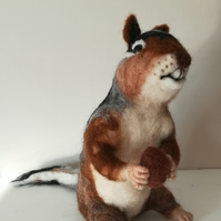 Chipmunk character needle felted wool sculpture collectable collectables OOAK so