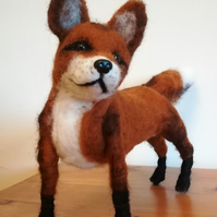 SOLD, Freddie Fox, character needle felted wool sculpture collectable OOAK