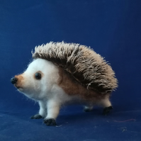 Needle felted wool sculpture hedgehog, mohair fabric