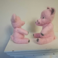 Piglets, and needle felted, felting, fibre art, wool, collectables, OOAK, pigs,