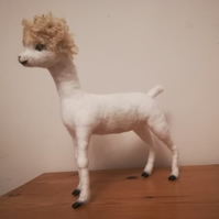 Alan Alpaca needle felted wool sculpture OOAK collectable