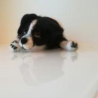 Border Collie puppy lying down, OOAK, collectables, needle felted, wool