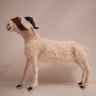 Boer Goat needle felted wool sculpture collectable, OOAK
