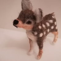 Needle felted wool sculpture baby deer