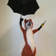 """Singing in the rain ""needlefelted wool character fox"