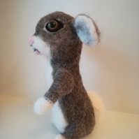 Baby bunny needle felted wool sculpture OOAK collectable
