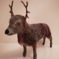 Red deer stag needle felted wool sculpture