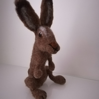 Harry Hare, needle felted wool sculpture , armature,