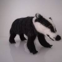 Badger, needle felted, wool, sculpture.