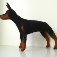 Doberman Pincher,  needle felted , wool sculpture