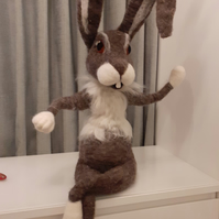 Bertie, needle felted wool, rabbit character