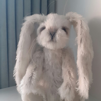 """ FLOPSY "" Handmade, artist character rabbit, mohair, fully jointed, poseable, o"