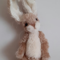 OLIVER, handcrafted character Rabbit, mohair fabric, jointed, poseable, OOAK, co