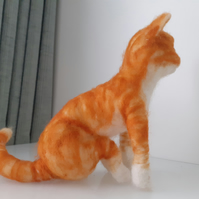 Ginger kitten sculpture all wool,needle felted