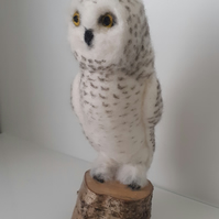Needle felted wool snowy owl sculpture ooak,collectable