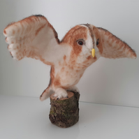 Tawny Owl sculpture ooak,collectable needle felted wool