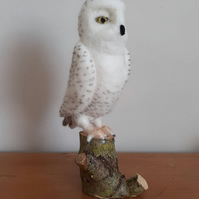 Snowy Owl, bird, needle felted wool sculpture ooak,collectable