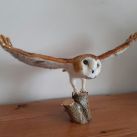 Needle felted wool sculpture Barn Owl ooak,collectable