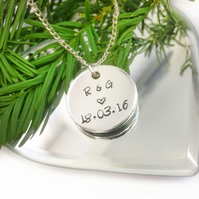 Personalised necklace with date and initials, anniversary gift,