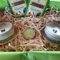 Peppermint Foot Rescue Gift Box. Natural Organic. Foot Lotion & Foot Mask